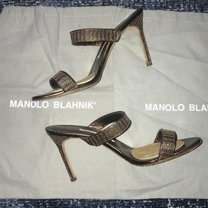 Manolo Blahnik Two Strap Slip-on Heels